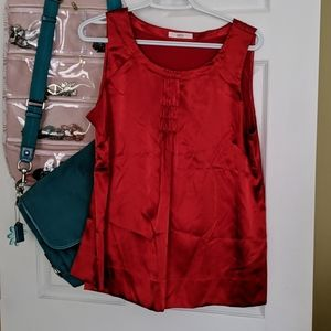 2/$20 Red Marks & Spencer faux silk top.